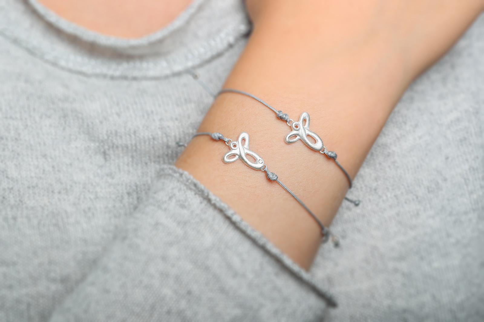 Armband Schutzengel klein mit Brillant (weiß)