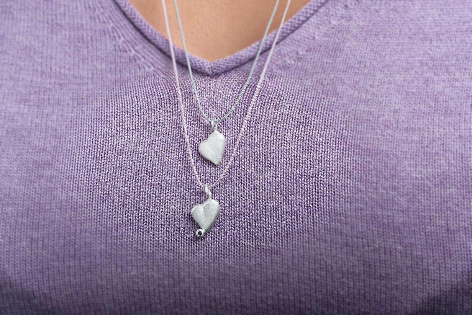 Anhänger Herz und Herz mit Topas, 925 Silber