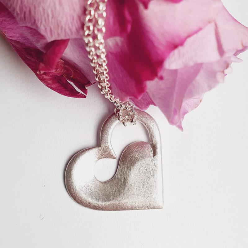 Anhänger Herz mit Welle, 925 Silber