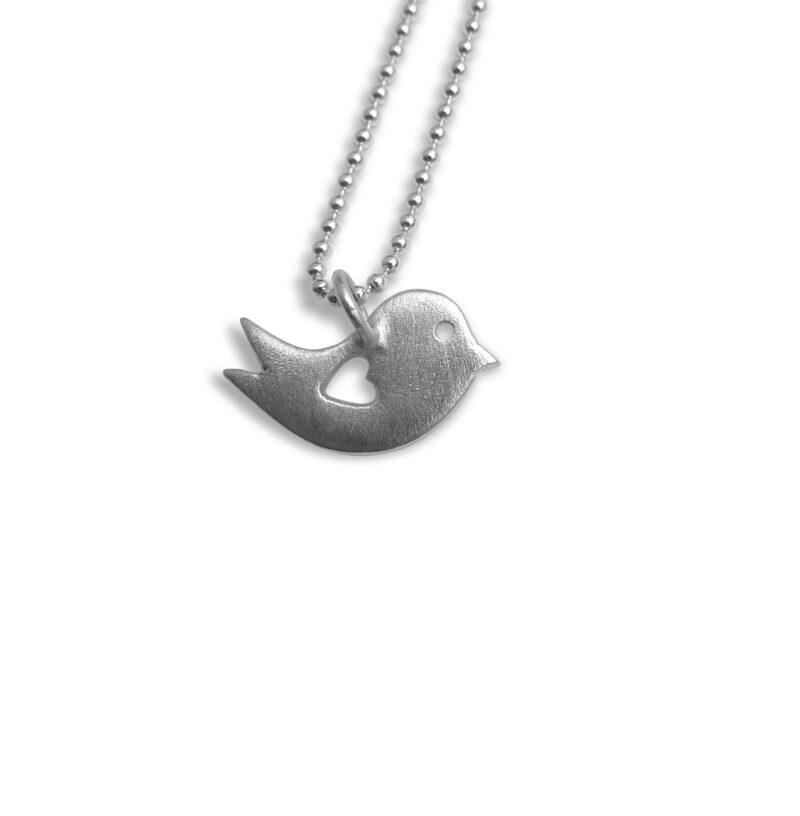 Vogel Anhänger Herz Silber