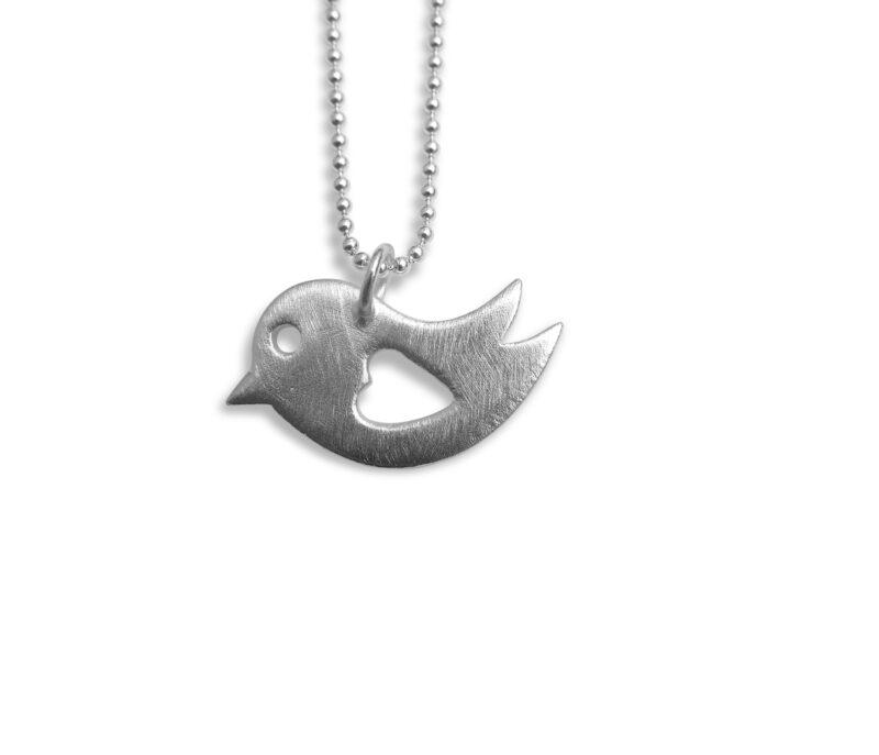 Anhänger Vogel mit Herz, 925 Silber